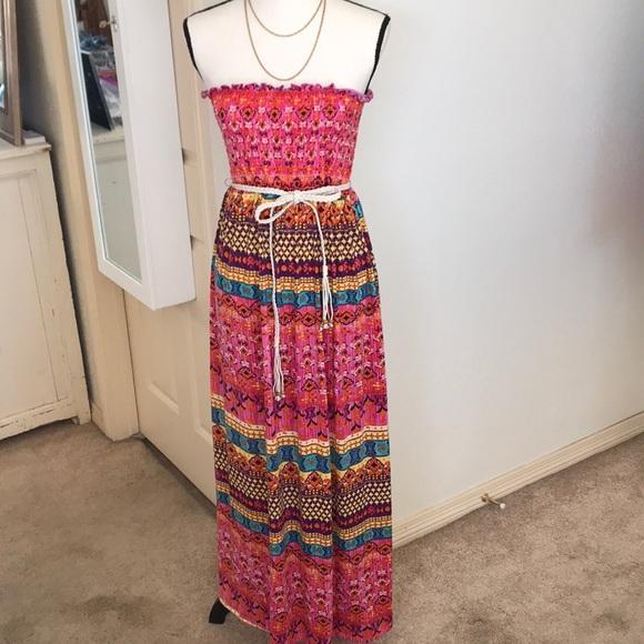 7f7b2ceaca No Boundaries Dresses   Multicolored Strapless Maxi Dress   Poshmark